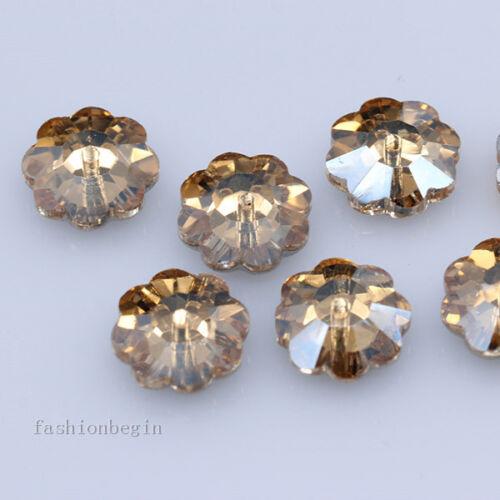 72p 6 mm Plum Flower Shape Sew sur verre 1 Trous Cristal Strass Argent Flatback