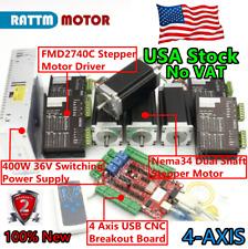Us4 Axis Nema23 Dual Shaft Stepper Motor 425oz In280ncm Ampdriver 4a Usb Cnc Kit