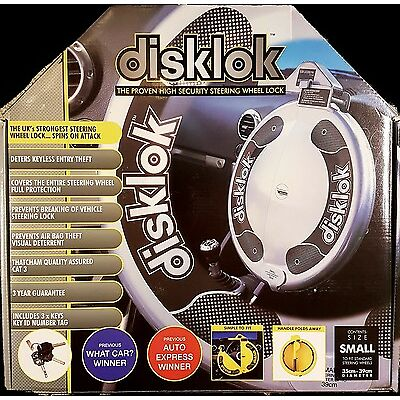 DISKLOK DISK LOCK 35 - 39cm SMALL SILVER STEERING WHEEL LOCK THATCHAM LEVEL 3