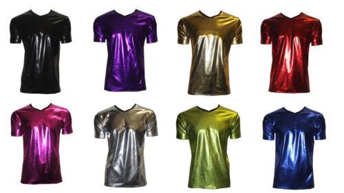 Uomo Metallizzato Lucido PVC Argento Nero Blu Grasso Effetto Lucido T-Shirt