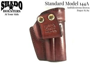 SHADO-Leather-Holster-Standard-Model-144A-Ambidextrous-Brown-fits-Ruger-85-89