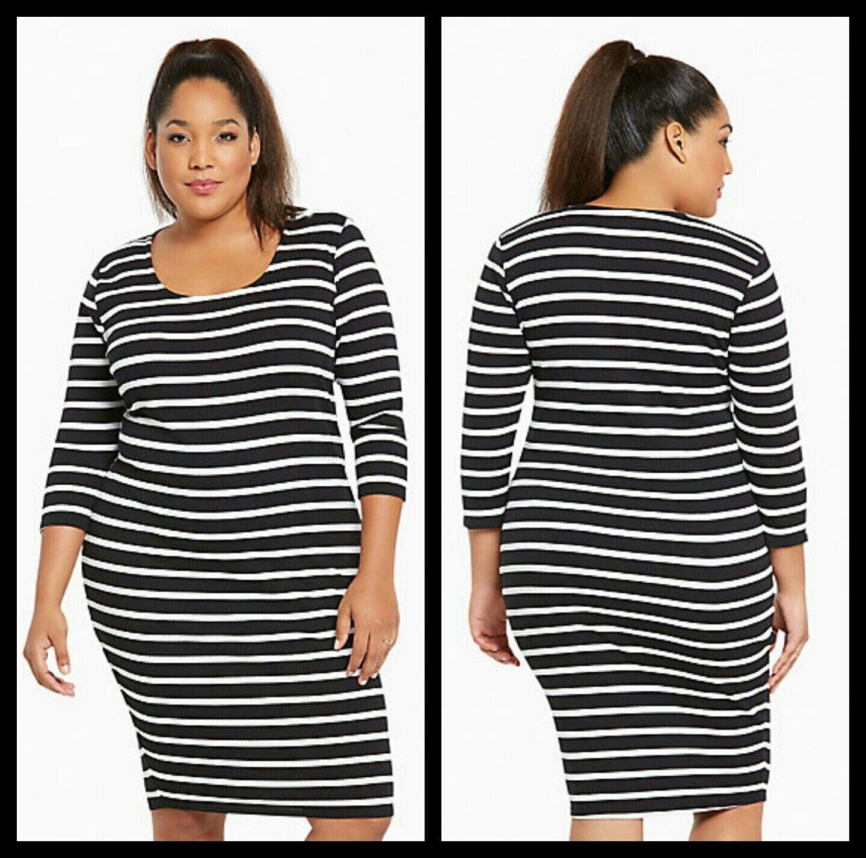 NWT Torrid Plus Größe 2 2X Striped Ribbed Bodycon Dress Weiß schwarz (SSS13)