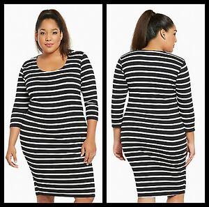 NWOT Torrid Plus Size 1 1X XL Striped Ribbed Bodycon Dress White ...