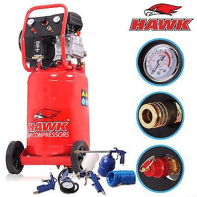 HAWK 50l UPRIGHT VERTICAL GARAGE WORKSHOP AIR COMPRESSOR & 5 PIECE ACCESSORY KIT