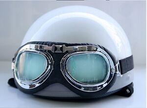Vintage-Motorcycle-Motorbike-Scooter-Half-Helmet-Solid-White-Free-Goggles
