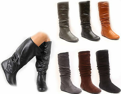 Women's Shoes Cute & Comfort Round Toe Flat Slouchy Mid Calf Knee High Boot NEW