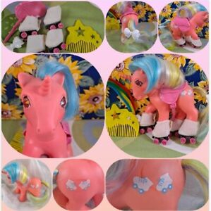 SPEEDY 1985 VINTAGE TWINKLE EYE Pony  G1 My Little Pony W/ Rollerblades & Saddle