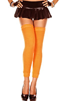 Leg Warmers Neon Orange Acrylic Footless Thigh Hi Women's One Size