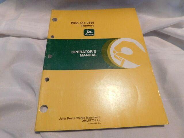 2355 2555 John Deere Tractor Operator S Manual Original