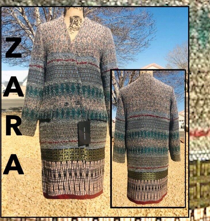 ZARA WOMAN (S) JACQUARD DBL BREASTED COAT REF 2222 614 SIZE S  BEAUTIFUL