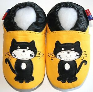 Minishoezoo soft sole crib shoes cat yellow  0-6 m baby leather shoes slippers