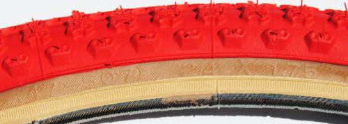 """Kenda Comp 3 old school BMX skinwall gumwall tires 24/"""" STAGGERED RED PAIR"""