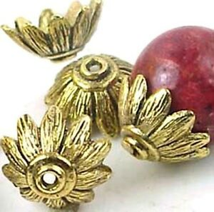 10 Antique Gold Pewter Petal Caps 14mm Beads