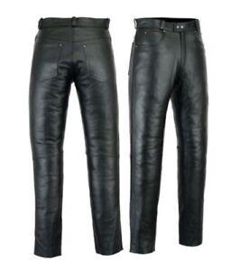 Mens-Leather-Jeans-Pants-trouser-Premium-Quality-Cow-Plain-Leather-Black