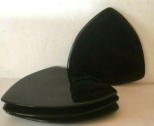 4-DUDSON-Artisan-GEOMETRIX-Black-SHIELD-8-1-4-034-Salad-Plates-Set-of-FOUR