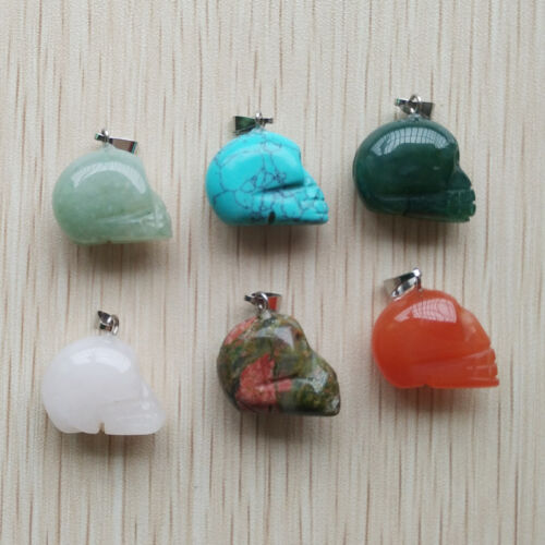 Assorted Mixed Natural Stone Skull Charms Pendants Beads 12pcs//lot Wholesale