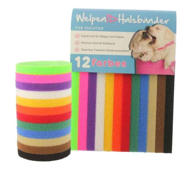 12 Farben - WelpenIDhalsbänder ID Velcro Klettband, Welpen und Katzen, Für Zücht