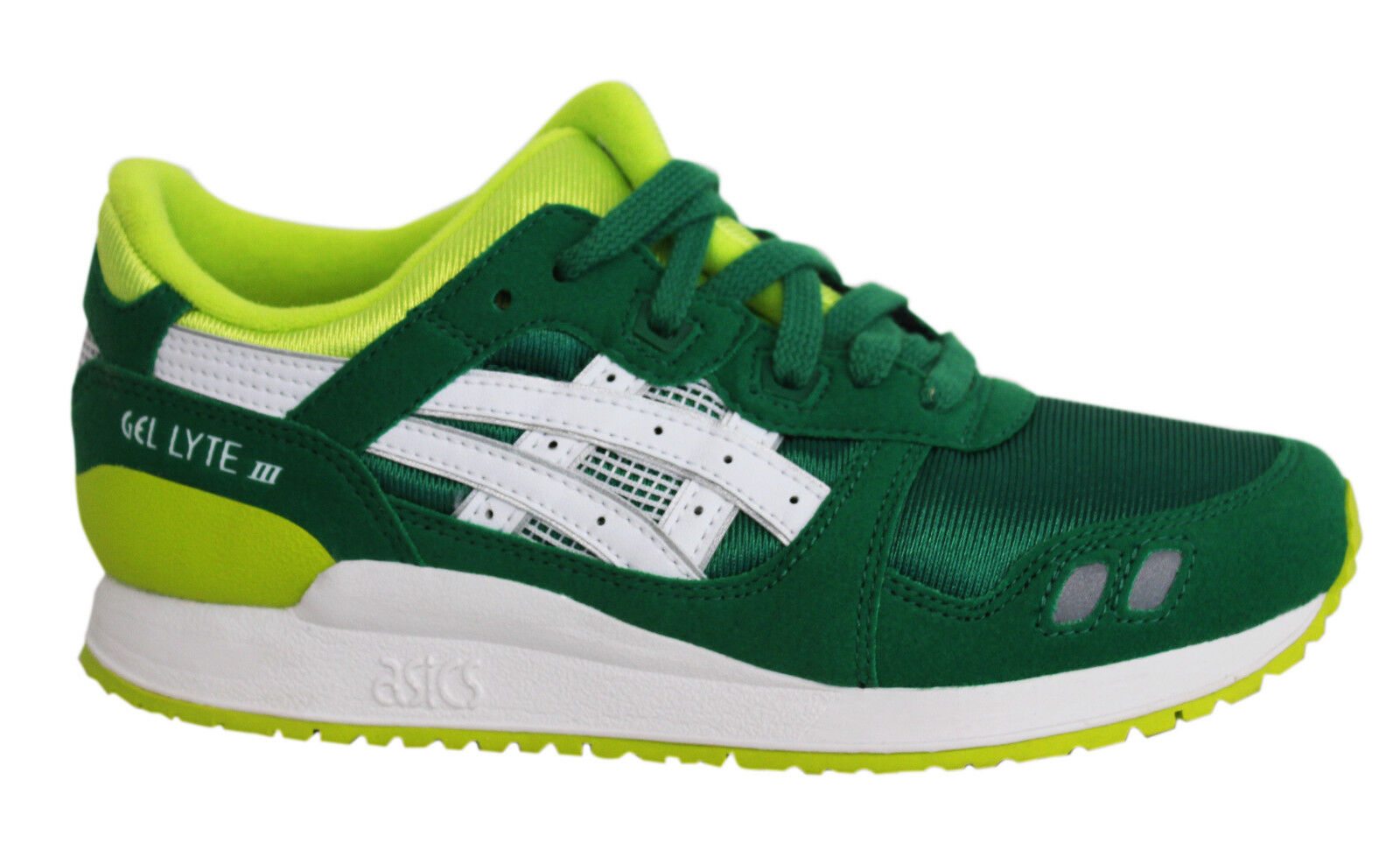 852912141676 Asics Gel-Lyte III GS Lace Up Green White Junior Kids Trainers C5A4N ...