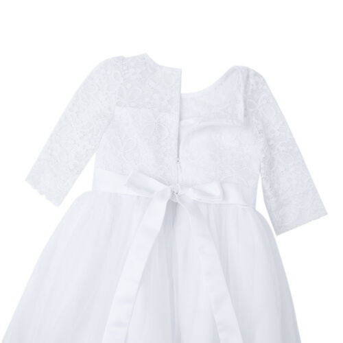Kid Girl Half Sleeve Lace Dress Flower Girl Dress Princess Wedding Birthday Gown
