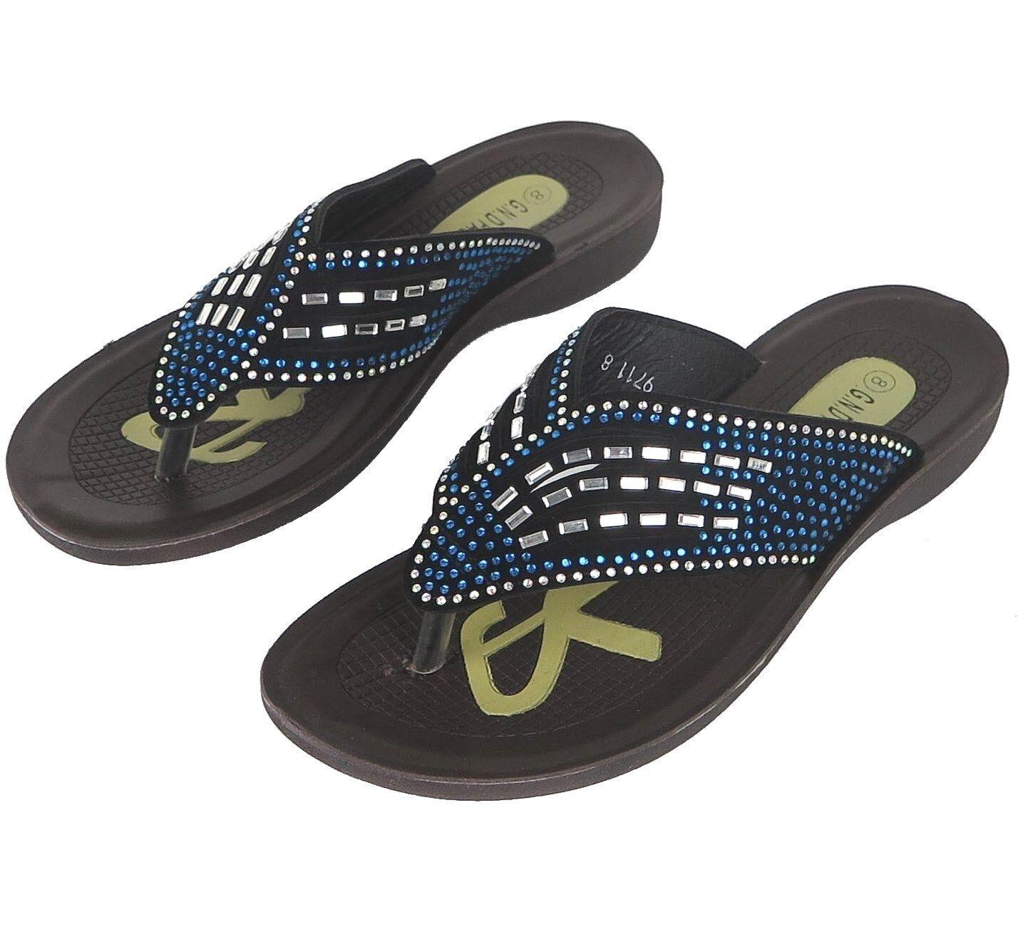 Women's Flip Flops Rhinestones Sandals Shoes w/ Blue Rhinestones Flops Sizes 5-10 New 916d88