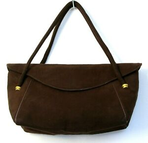 0ba2a7247f VINTAGE 40  GUCCI ITALY BROWN GENUINE LEATHER SUEDE CUTE FLAP BAG ...