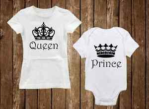 Baby Shower Gift Sets ~ Queen & prince adorable matching mom shirt & son onesie baby