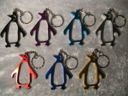 Key Chain Choose Metallic Colour Penguin Metal Bottle Opener Keyring