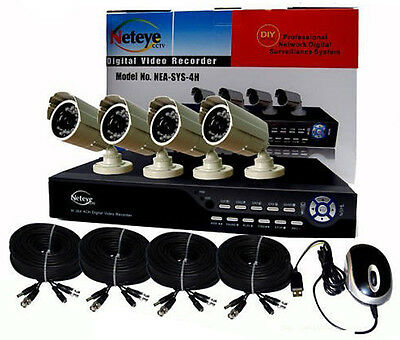 Miele Dvr 4 Canali H264-3g + 4 Telecamere Sony 1/3 24ir 3000mpx + 4 Prolunghe 20mt T4
