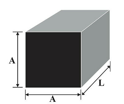 "Aluminium Square Bar 1/4"" up to 2.5"" sizes with many lengths and cutting service"