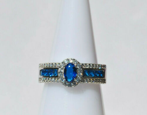 Echt 925 Sterling Silber Ring mit Zirkonia Hochzeit blau crystalGr 56 58 60