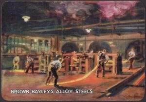 Playing-Cards-Single-Card-Old-Wide-BROWN-BAYLEYS-ALLOY-STEEL-Advertising-FOUNDRY