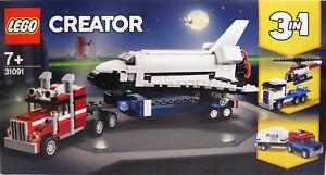LEGO-Creator-31091-Transporter-f-Space-Shuttle-3in1-Jeep-Wohnwagen-LKW-Heli-NEU