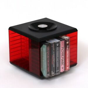 Vintage-Retro-Rotating-Cassette-Tape-Storage-Rack-in-Red