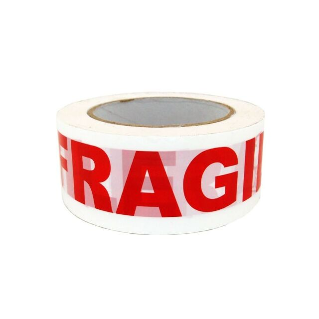 """24 Rolls 3/"""" x 110 Yds Fragile Marking Carton Packing Tape 2 Mil with Dispenser"""
