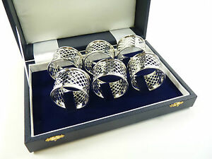 NEW-Sterling-Silver-Set-of-6-NAPKIN-or-Serviette-RINGS-Basket-Weave