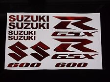 RED CHROME GSXR 600 10 PIECE  DECAL SET, suzuki gixxer fairing tank s tail