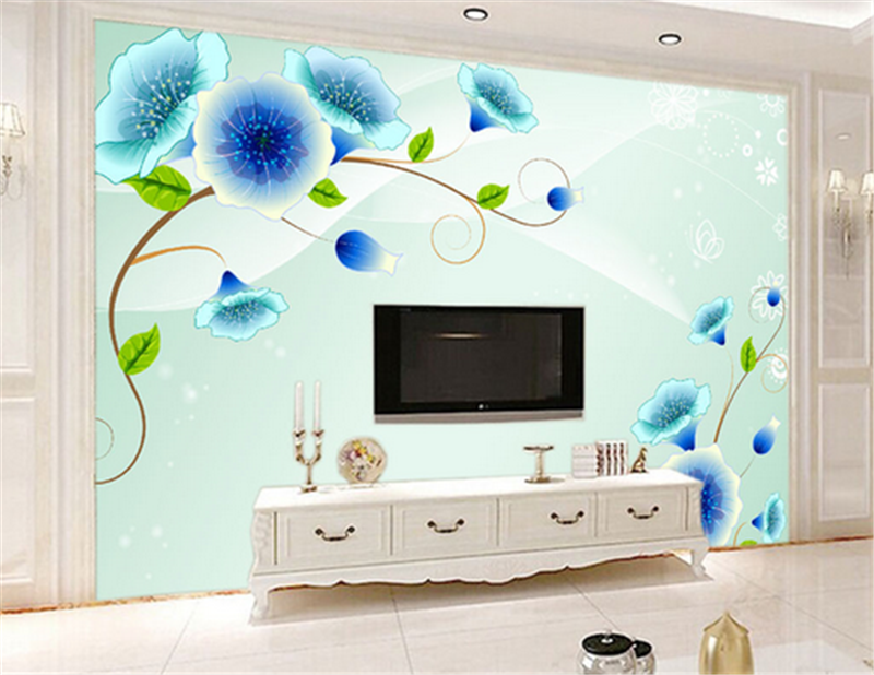 3D Blau Flower Leaves 724 Wallpaper Mural Paper Wall Print Wallpaper Murals UK