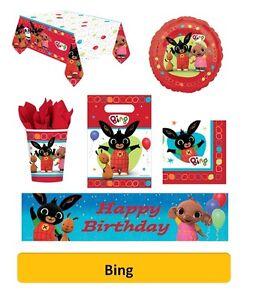 BING - Birthday Party Range  - Tableware Balloons & Decorations