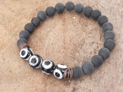 Mens Gemstone Healing Surfer Bracelet  8mm Black stone 10mm Agate Tribal Beads
