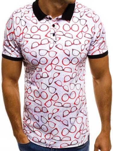 OZONEE Uomo Polo Polo Camicia Polo T-shirt a maniche corte slim fit motivo Mach//5005p