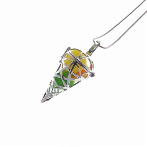 Fashion Silver Tone cône en forme de perles cage Médaillon Collier Pendentif 50 cm