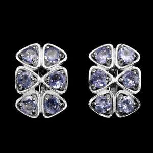 Sterling-Silver-925-Genuine-Natural-Blue-Violet-Tanzanite-Cluster-Earrings