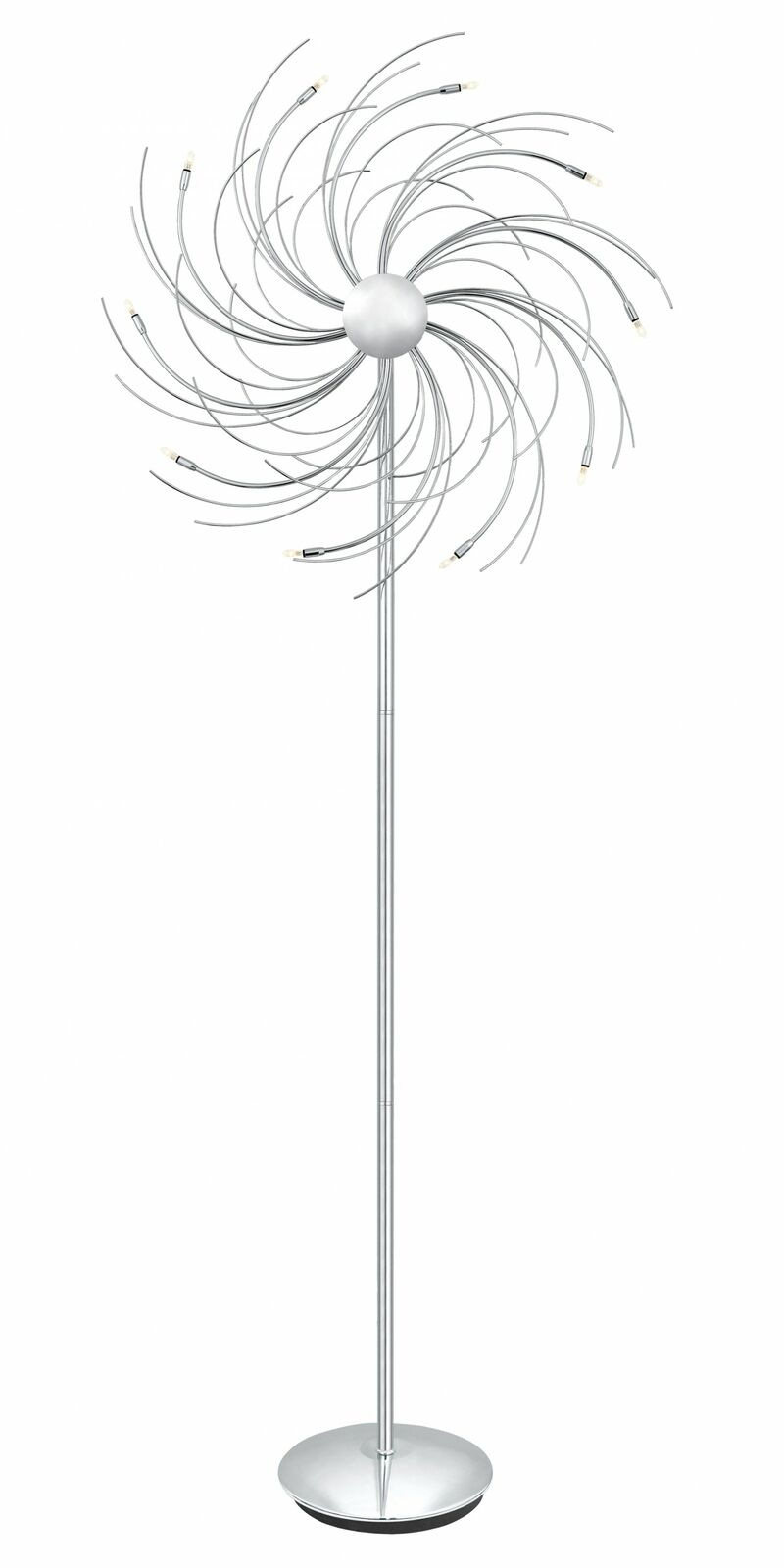 Stehleuchte Spinning 10 Flg. Fußtrittschalter Halogen G4 Chrom Höhe 169cm