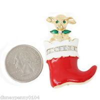 Christmas Stocking Mouse Rhinestone/enamel Paint-red/multi Colored Pin-1 3/4