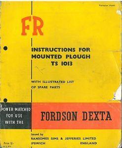 Ransomes ts1013 FR montado arado manual del operador y lista de piezas