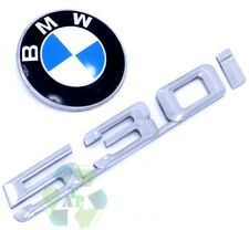 BMW 530i Rear Trunk Emblem Script Roundel Set Lid OEM 01 02 03 Logo Badge E39