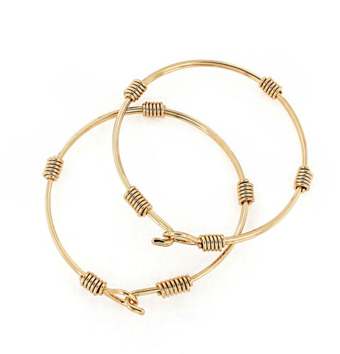 Gold Bangle Bracelet with Simple Rope Design N369
