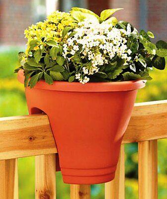 Terra Cotta/ Green  Deck Rail Planter Porch Fence Flower Pot Outdoor Home Decor