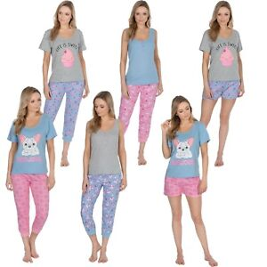 Ladies Pyjamas Pj Lounge Set Cool Cotton Summer Cupcake Unicorn ... 66b4f831d