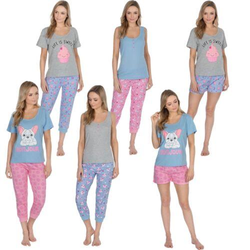 Ladies Pyjamas Pj Lounge Set Cool Cotton Summer Cupcake Unicorn Bulldog 8-22